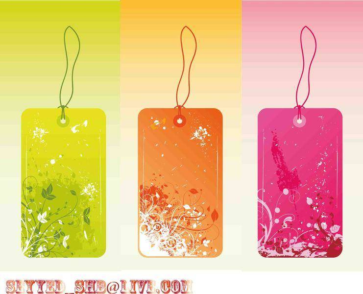 Flower Vector Grungy Labels and Tags