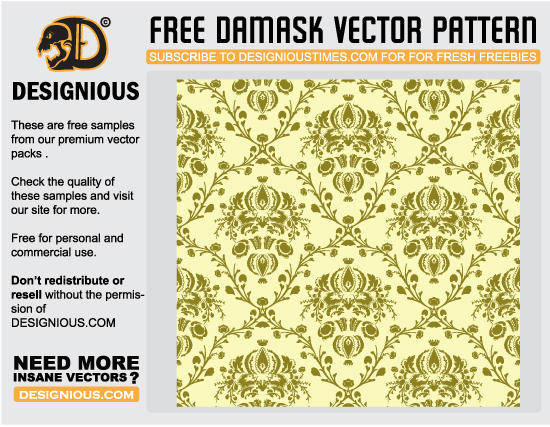 free vector Damask seamless pattern