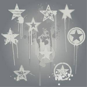 Grunge Star Vector Design Elements