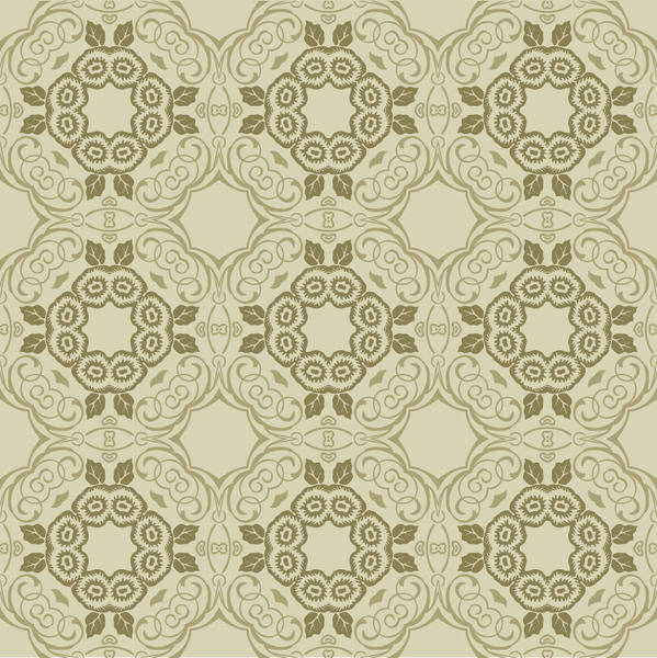 free vector Green Floral Wallpaper