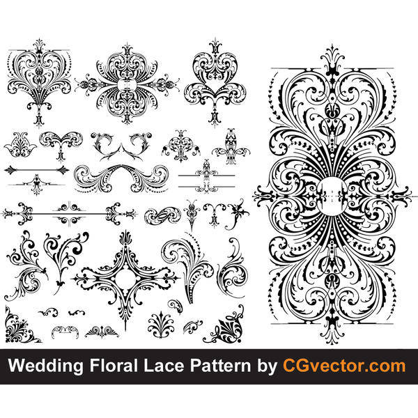 free vector Wedding Floral Lace pattern vector