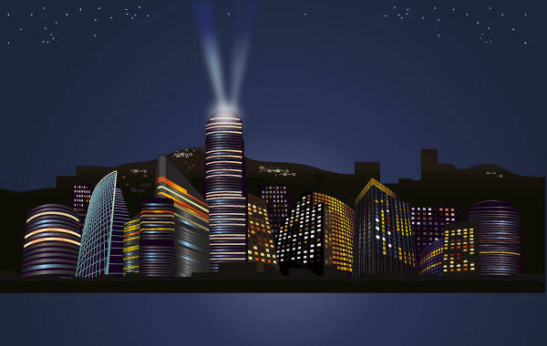 free vector City nights Skyline