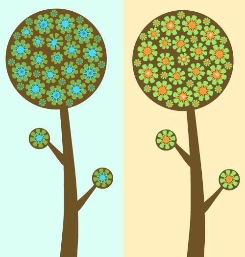 free vector Flowered Trees