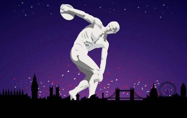 free vector Olympic Discobolus in London 2012