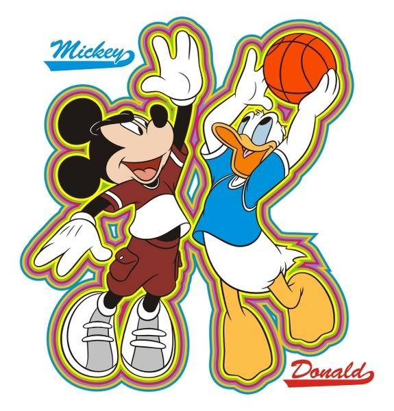 free vector Mickey and donald basketball