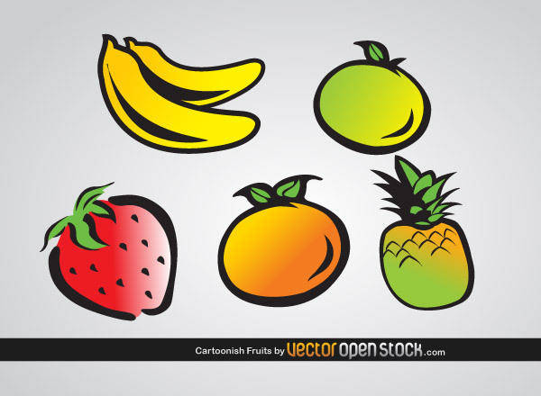 free vector Cartoonish Fruits