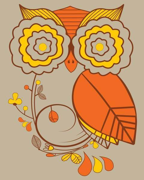 Flowered Owl Vector