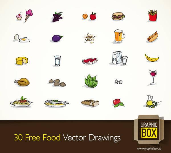 30 Free Food Vector Drawings