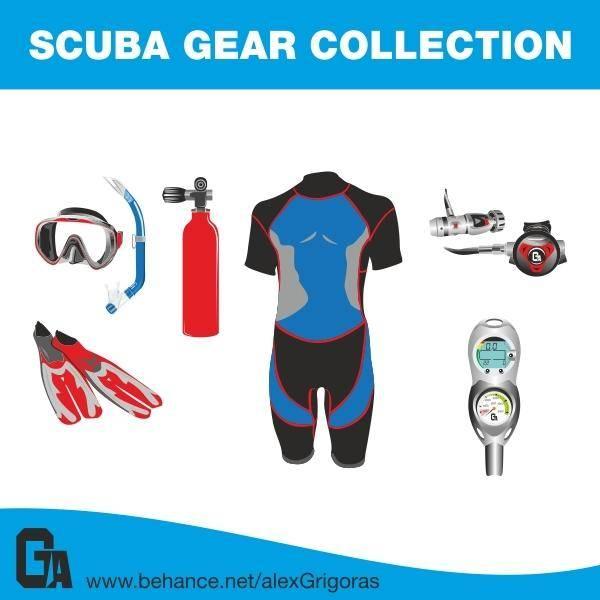free vector Scuba Gear Collection Vectors
