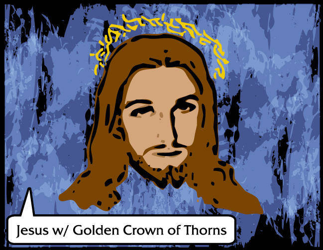 Jesus Vector with Golden Crown of Thorns - Free Vector