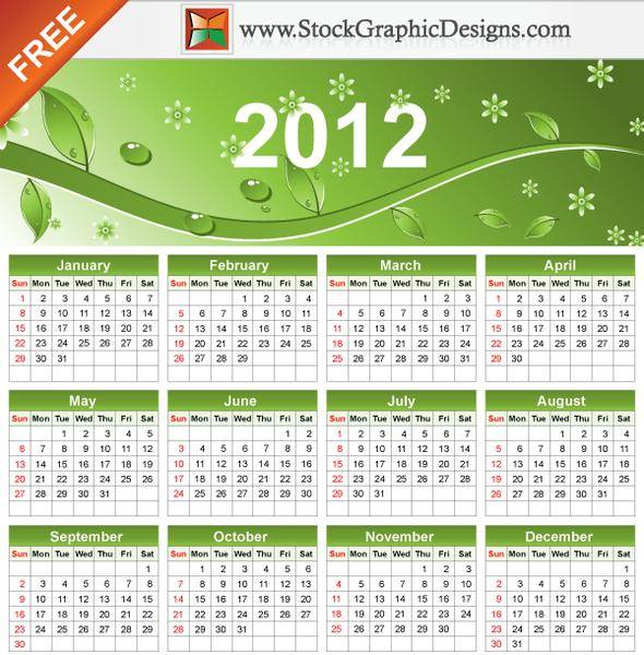 free vector 2012 Eco Green Free Vector Calendar