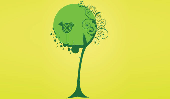 Vector tree and bird