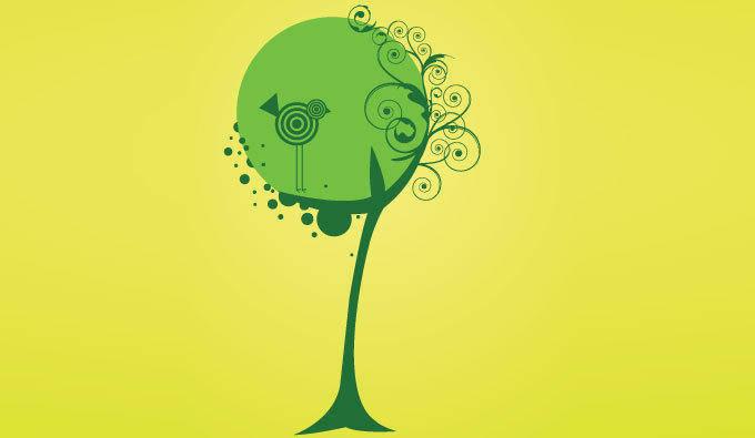 free vector Vector tree and bird
