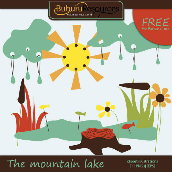 free vector The mountain lake - vector clipart