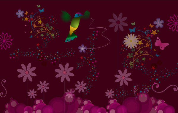 free vector Flower Vector with Humming Bird Vector
