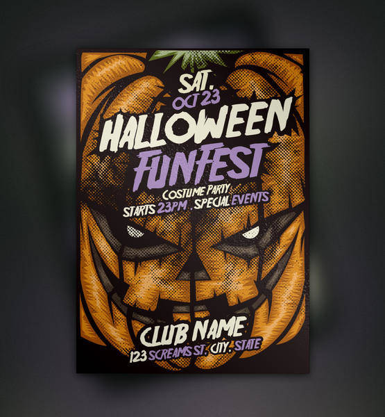 free vector Pumpkin Halloween Flyer Template