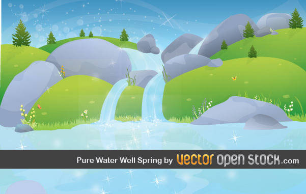 free vector Pure Water Well Spring