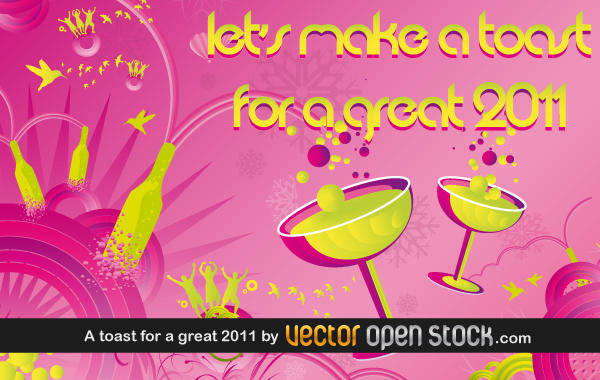 free vector A toast for a great 2011
