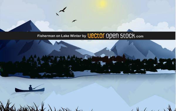 free vector Fisherman on Lake Winter