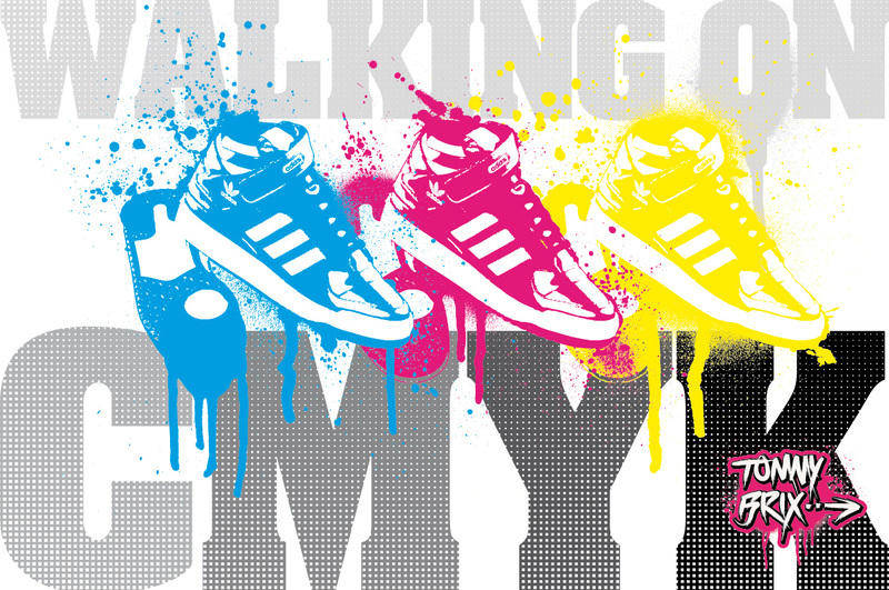 free vector WALKING ON CMYK - design TommyBrix