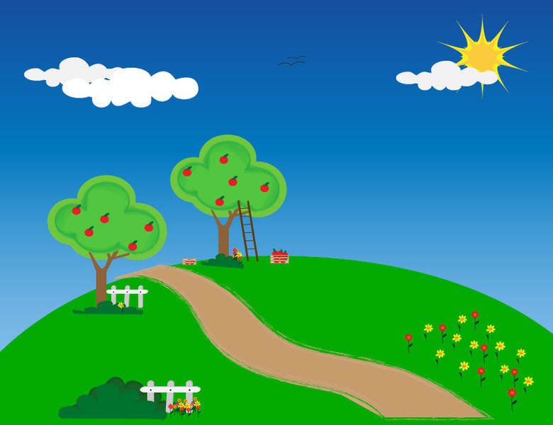Apple Trees Vector Wallpaper