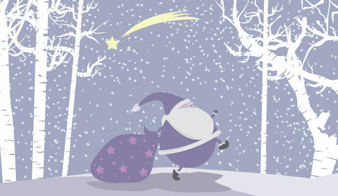 Snow vector christmas illustration with santa