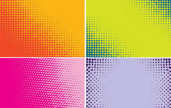 free vector Four Backgrounds Halftone Color