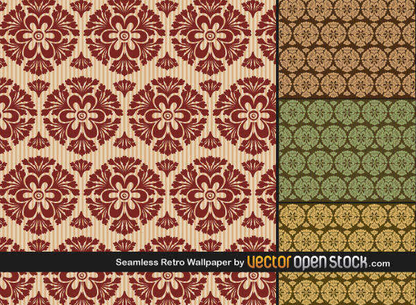 free vector Wallpaper Vector Pack of Seamless Retro Wallpapers