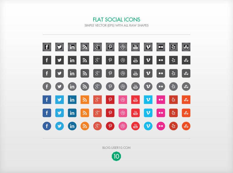 free vector Flat Vector Social Icons (EPS)