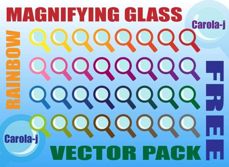 free vector Rainbow Magnifying Glass Vector Pack