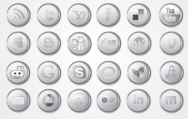 free vector Silver Social Media Icon Pack