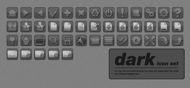 Dark Vector Icon Set