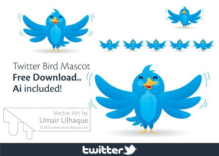 free vector Twitter Bird Vector Mascot