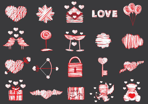 free vector 20 Free Love Vector Elements Pack