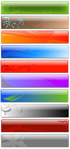 Free Vector Glass Header Designs - Fancy