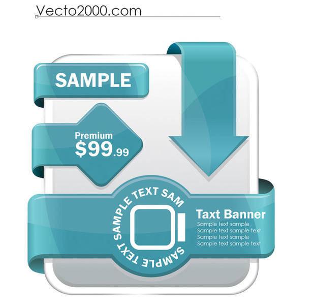 free vector Set of web label element 5 set