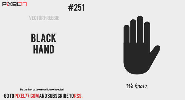 free vector Black Hand Vector - Free Vector of the Day #251