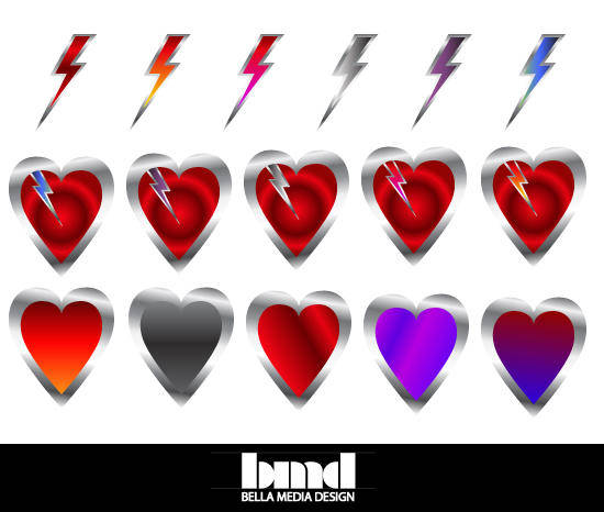 free vector Hearts and Bolts