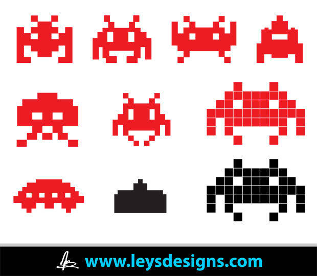 free vector Space Invader Icons