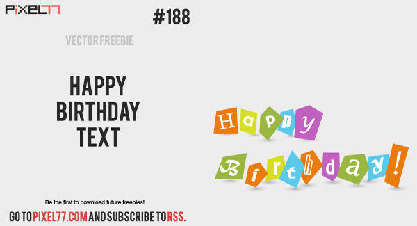 free vector Free Vector of the Day #188: Happy Birthday Text