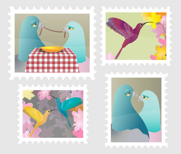 free vector A good start to your birds stamp collection