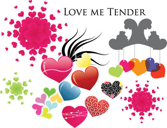 free vector Love me tender - Various Hearts