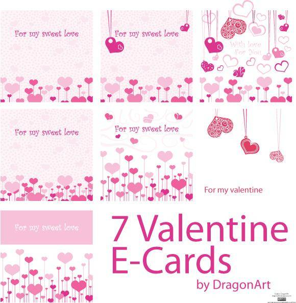 free vector For my Sweet Love Valentine E-Cards Vector