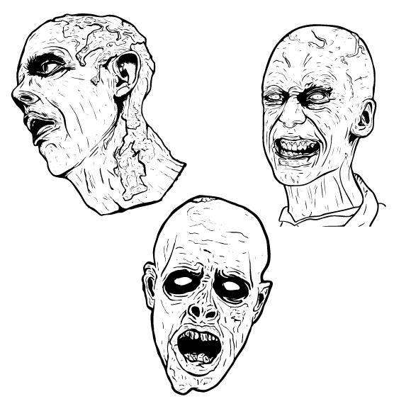 free vector 3 Free Illustrated Scary Zombie Vector Graphics