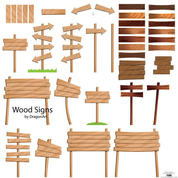free vector Wood Signs Vector Set