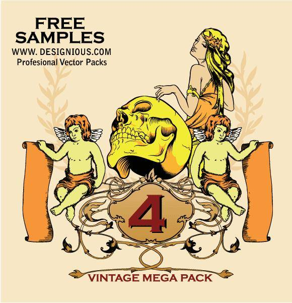 free vector Vintage Mega Pack 4 free samples