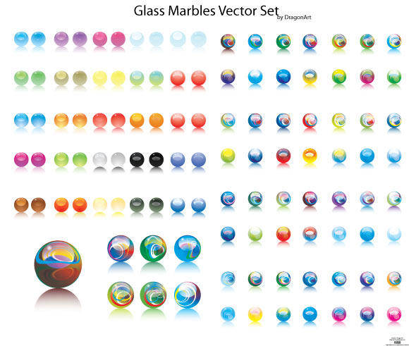 free vector Glass Marbles Vector Set