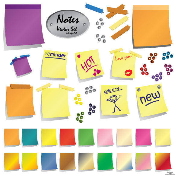 free vector Notes Vector Set
