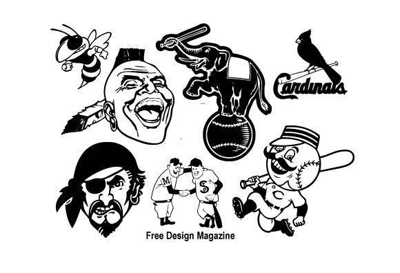 free vector Baseball Club Characters