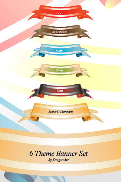 free vector Theme Colored Banner Set